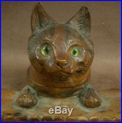 Bel Encrier Ancien En Bois Sculpte Art Populaire De La Foret Noire Chat