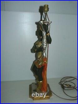 Belle Ancienne Grande Lampe Torchere Nubien Bois Sculpte Polychrome Venitien