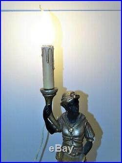 Belle Ancienne Lampe Torchere Nubien Bois Sculpte Polychrome Venitien