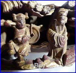 Bois Sculpté Chine Ancienne Début XIXe Divinités Laque Rouge et or Sculpture 19e