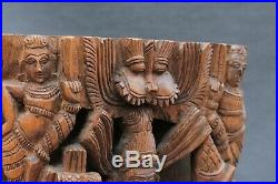 Bois de char processionnel ancien Inde fin XIXe bois sculpté art ethnique