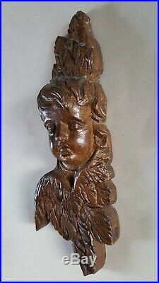 Bois sculpté ancien chêne visage ange baroque XVIIe ou XVIIIe siècle