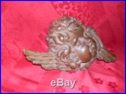 Bois sculpté ancien tete d'ange ailée époque 19 ème