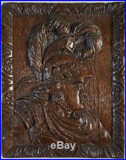 Bois sculpté bas relief ancien en chêne chevalier baroque XVII-XIXe