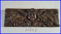 Bois sculpté chêne ancien Ornement Baroque Décor visage ange avec ailes XVIIIè