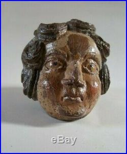 Bois sculpté chêne ancien visage ange baroque polychromie XVIIIème 18ème