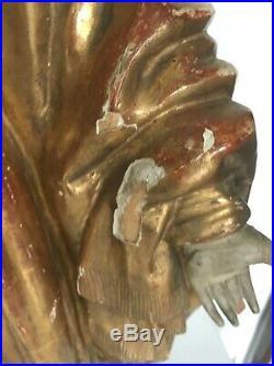 Bois sculpté et doré Vierge Marie en bois doré XIX siècle Ancien bois sculpté