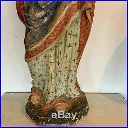 Bois sculpté polychrome Vierge a l'enfant Ancien bois sculpté XVIII siècle
