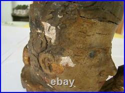 Bois sculpté, polychrome, très ancien, d'une tête d'homme #959#