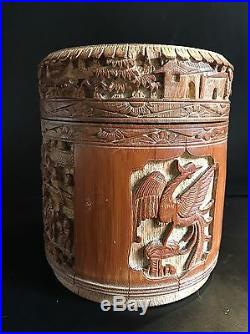 Boite a The Chinoise ancienne Bambou Sculpté Chine Tea Box Chinese cadeau noel