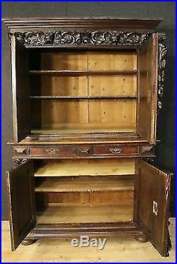 Buffet enfilade armoire garderobe bois sculpté décorations style ancien 900 XX