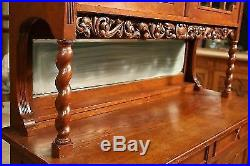 Buffet enfilade sculpté bois chêne commode armoire garderobe ancien 900 meuble