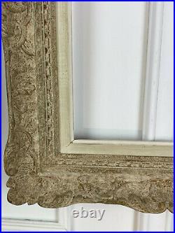 CADRE ANCIEN MONTPARNASSE EN BOIS SCULPTÉ PATINÉ POUR PEINTURE 55,5 cm x 39,5 cm