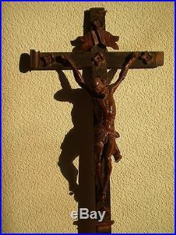 CHRIST BOIS SCULPTE HAUTE EPOQUE 17°s CROIX STATUE ANCIEN ART RELIGIEUX JANSENI