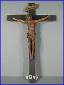 CRUCIFIX ANCIEN XVIIe SIÈCLE  / CHRIST EN BOIS SCULPTÉ ANCIEN / CHRIST ANCIEN