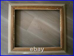 Cadre Ancien 10f Bois Sculpte Gris Deco Toile Tableau Peinture 55x46 Art
