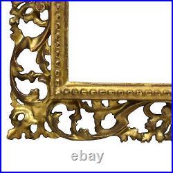Cadre Ancien de 1880 en bois sculpté, ajouré et doré 25x20 cm à l'intérieur