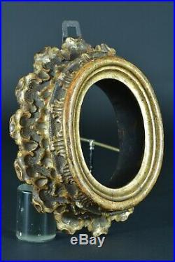 Cadre Ancien en bois doré Italie 18 ème Ovale antique Frame Antica Cornice