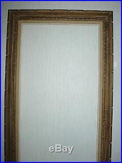 Cadre Montparnasse ancien en bois sculpté grand format feuillure 96 x 43 cm