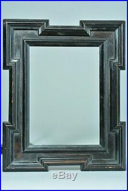 Cadre ancien en bois noirci Ebene Coins décrochés Moulurés19e frame cornice