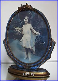 Cadre bois sculpté patiné ovale psyché ancien Art Déco NANCY 1925/30 porte photo