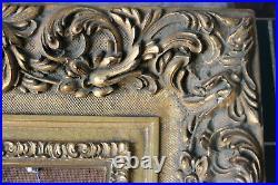 Cadre style ancien 40cm x 30cm Bois Stuc sculpté et doré