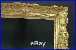 Cadre tableau ancien Montparnasse Fleur de lys bois doré Cornice Frame 5 fig