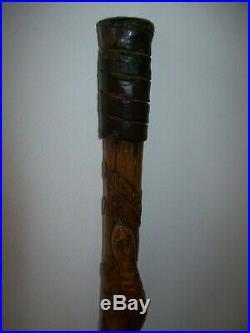 Canne ancienne travail de poilu en bois sculpté