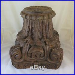 Capital Ancienne en Bois de Noix Sculpté Idéal Comme Base Pour Petite Table