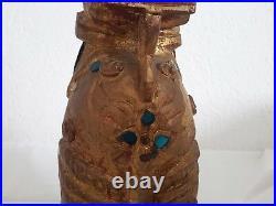Chiens De Fo En Bois Sculptés Dore Ancien La Paire