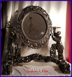 Chine Ancienne Grand Miroir Chinois Psyché Bois Sculpté d'Enfants Chinois XIXe