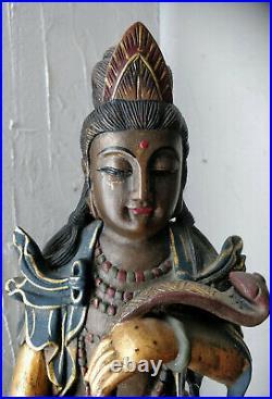 Chine Ancienne Guanyin Déesse De La Miséricorde Statue Bois Sculpté Polychrome