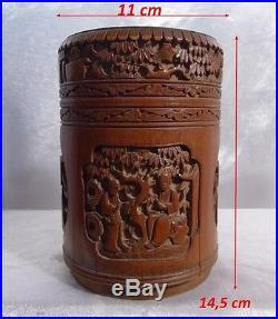 Chine Ancienne Impériale vers1850 Pot Couvert en Bambou sculpté de Divinités 19e