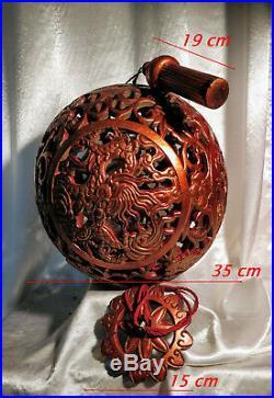 Chine Ancienne Indochine 1900 Très Grosse Boule Bois Sculpté Laqué Or Lanterne