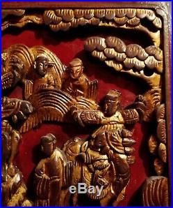 Chine Ancienne Qing XIXe Panneau Bois Sculpté Rouge & Or Concubines & Guerriers