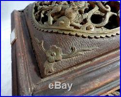 Chine Ancienne XIXe Coffret Bois Sculpté Bronze Ciselé Dragons Chimère Chien Foo