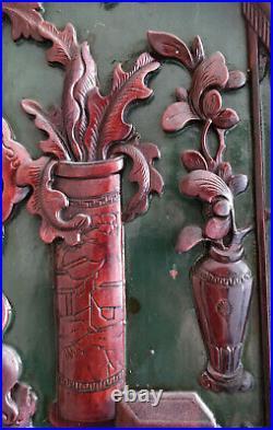 Chine Impériale Ancienne XIXe Panneau Chinois Sculpté d'Objets de Lettré