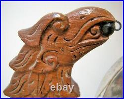 Chine Japon Ancien Gong Argent massif Dragon Bois Sculpté chinese export silver