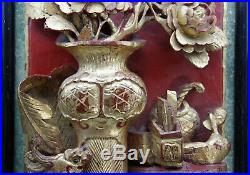 Chine ancien tableau panneau bois sculpté doré chinois signé dragon asie