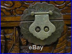 Coffre Chine Indochine Sculpte Main Decor Jonques Chinoises Ancien 1900 (b241)