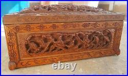 Coffret Boîte Ancien Chinois Sculpté Ajouré Bois Sculpture Chine Asie