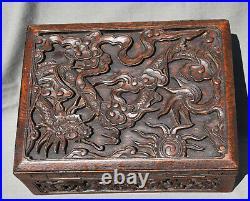 Coffret Boite Ancien En Bois Sculpte Decor Aux Dragons Chine Vietnam