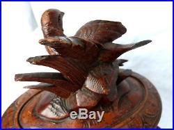 Coffret à bijoux ancien en bois sculpté forêt noire XIXème oiseau
