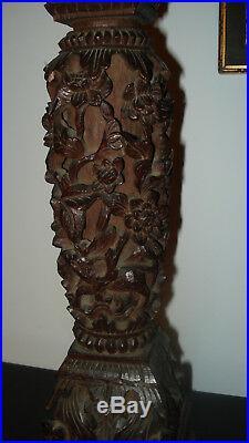 Colonne ancienne bois sculpté socle sellette Chine XIXe piédestal pièce unique