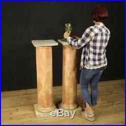 Colonnes françaises meubles paire tables en bois laqué sculpté style ancien