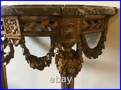 Console Demi-lune Ancienne En Bois Doré Et Sculpté Style Louis XVI Marbre Veiné
