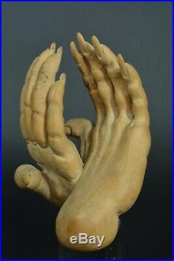 Curiosité Ancien Sculpture Indochine 1940 Main sculpté Danse Thaï Viet Nam signé