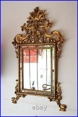 Elégant miroir ancien de style Louis XV à la feuille d'or sculptée et dorée