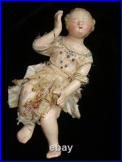 Enfant Jesus de crèche ancien en bois sculpté polychrome Italie XVIII ème siècle