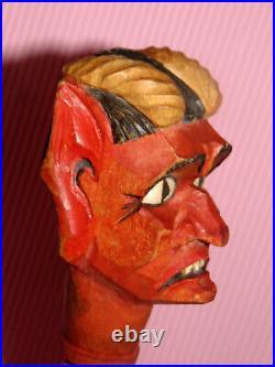 Ens. 5 marionnette ancienne Guignol/Punch bois sculpte 5 DIABLE /Devil/Krampus